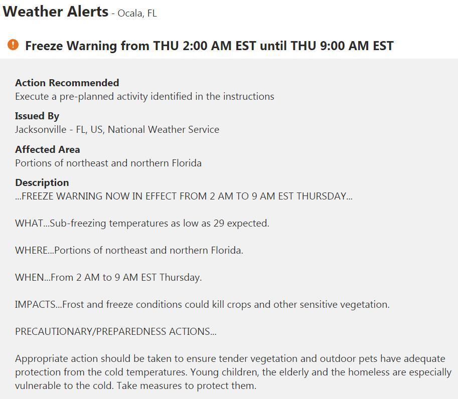 freeze warning, ocala news, ocala post, marion county news