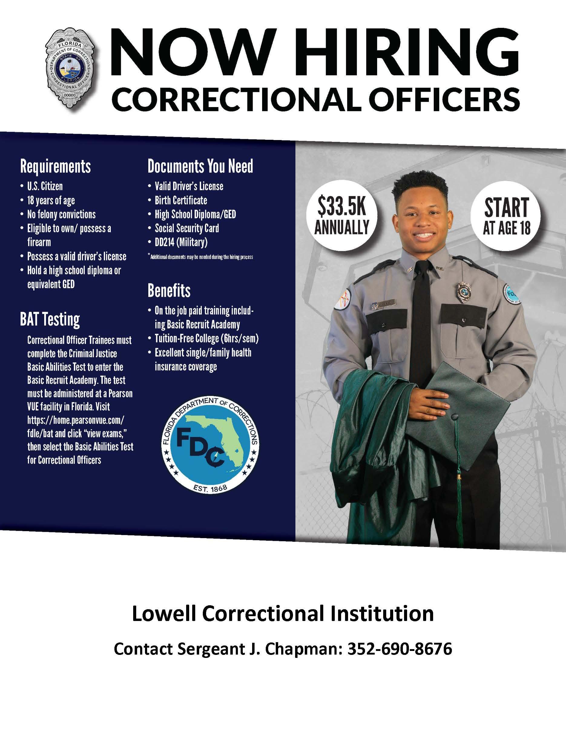 ocala post, ocala news, ocala jobs, corrections officer, lowell is hiring